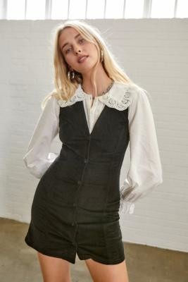 Urban Outfitters Corduroy Pinafore Mini Dress - Black XS at