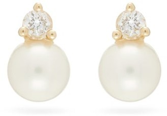 Mizuki Diamond, Pearl & 14kt Gold Earrings - Pearl