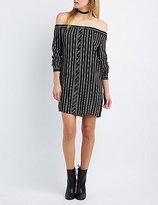 Charlotte Russe Printed Off-The-Shoulder Button-Up Dress