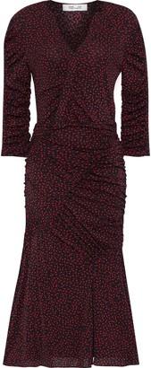 Diane von Furstenberg Becca Ruched Printed Stretch-mesh Dress