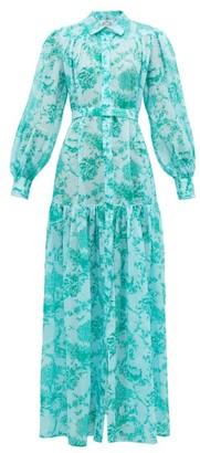 Evi Grintela Delphine Floral-print Cotton Dress - Womens - Blue Print