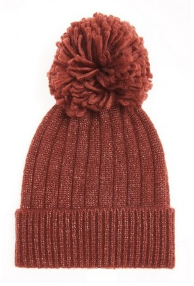 Dorothy Perkins Womens *Quiz Rust Pom Pom Knitted Hat