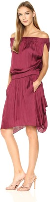 Halston Women's Off Shldr Satin Dress W Flowy Skirt
