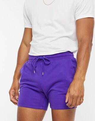 ASOS DESIGN jersey skinny shorts in shorter length in purple