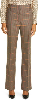 Burberry Lovisa Plaid Wool Blend Slim Pants