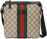 Gucci Web GG Supreme flat messenger bag - men - Leather/Nylon/Canvas - One Size
