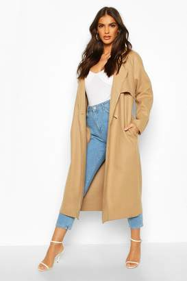 boohoo Double Breasted Wool Look Trench