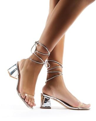 Public Desire Tomorrow Lace Up Perspex Block Heels