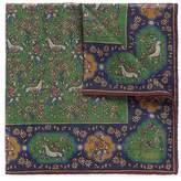 Drakes Drake ' S Unicorn print wool-silk pocket square