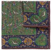 Drakes Drake's Unicorn print wool-silk pocket square