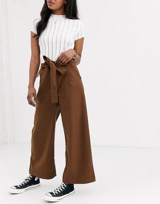 Moon River tie waist wide leg trousers-Brown