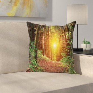 """Timberland East Urban Home Forest Pathway to Square Pillow Cover East Urban Home Size: 16"""" x 16"""""""