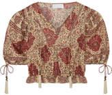 Zimmermann Tulsi Cropped Crochet-trimmed Printed Linen Blouse