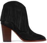 Sam Edelman Benjie Fringed Suede Ankle Boots - Black