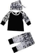 TONSEE 1Set Baby Boys Long Sleeve Printing T-Shirt+Long Pants+Hat (6Months)