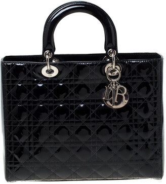 Christian Dior Black Patent Leather Large Lady Tote