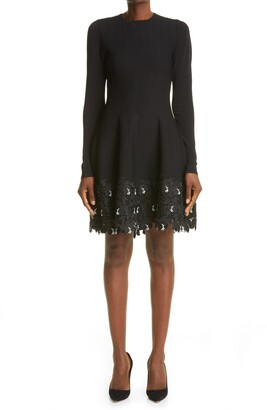 Lela Rose Lace Trim Long Sleeve Knit Dress