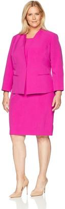 Le Suit LeSuit Women's Plus Size Crepe Fly Away JKT with Sheath Dress
