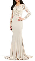 Terani Couture Long Sleeve Beaded Lace Bodice Gown