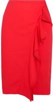 J.Crew Ruffled Cotton-blend Poplin Skirt - Red