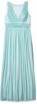 Marina Women's Long Dress with Sheer Insert at Center Front Neckline