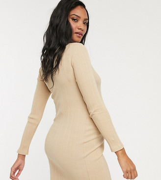 New Look Maternity rib bodycon dress in camel-Brown
