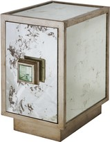 The Well Appointed House Worlds Away Savannah Antique Mirror and Champagne Silver Leaf One Door Side Table