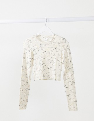 Monki Barb organic cotton face print jersey t-shirt in white