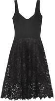 Oscar de la Renta Stretch-jersey And Guipure Lace Dress - Black