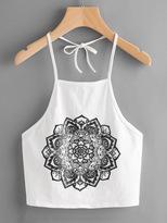 Shein Mandala Print Self Tie Halter Top