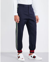 Gucci Velvet-striped Tapered Cotton-twill Trousers