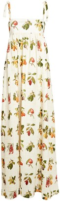Agua Bendita Verbena Frutas Printed Linen Dress
