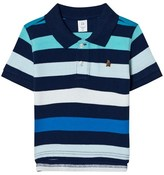 Gap Blue and White Stripe Embroidered Teddy Polo Shirt