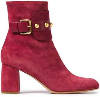 Red(V) Buckled Studded Suede Ankle Boots