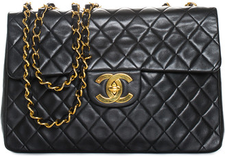 Chanel Black Quilted Lambskin Leather Half Flap Bag