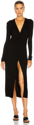Enza Costa for FWRD Silk Rib Cardigan Midi Dress in Black | FWRD