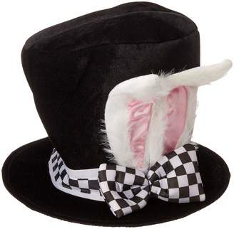 Jacobson Hat Company Men's Velvet Bunny Ear Top Hat with Checkered Bow Tie