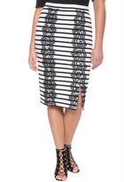 ELOQUII Plus Size Striped Lace Trim Skirt
