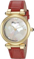 Salvatore Ferragamo Women's 'IDILLIO' Quartz Stainless Steel and Leather Casual Watch, Color:Red (Model: FCH030016)