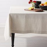 Crate & Barrel Helena Dark Natural Linen Tablecloth
