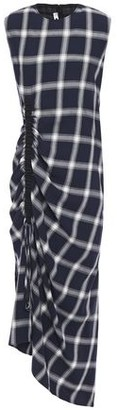 McQ Asymmetric Flannel-paneled Gathered Checked Twill Midi Dress