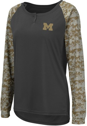 Colosseum Women's Charcoal/Camo Michigan Wolverines United We Stand Camo Raglan Long Sleeve Henley T-Shirt