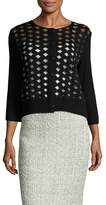 St. John Wool Diamond Eyelet Cardigan