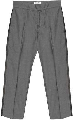 Brunello Cucinelli Kids Wool and silk twill tuxedo pants
