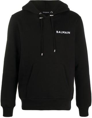 Balmain Flocked Logo Cotton Hoodie