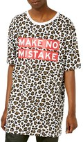 Topman AAA Collection Longline Oversize Leopard Print Graphic T-Shirt