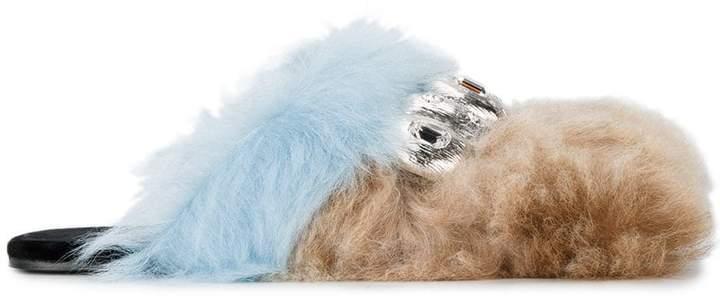 Prada Brown Blue crystal fur Slides