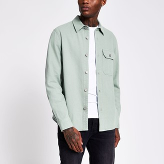 River Island Mens Mint long sleeve denim overshirt