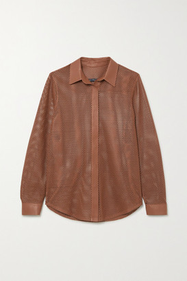 ZEYNEP ARCAY Perforated Leather Shirt - Tan