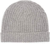 Neiman Marcus Cashmere Ribbed Cuffed Beanie Hat, Gray